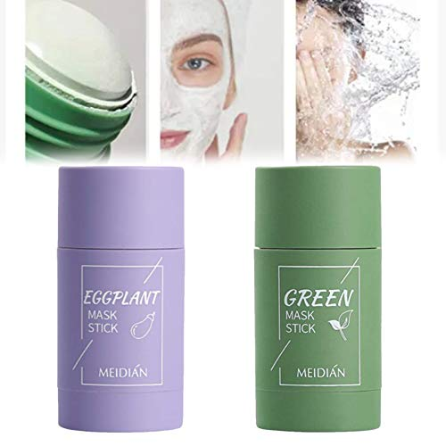 2pcs Green Tea Purifying Clay Stick Mask, Oil Control Anti-Acne Eggplant Solid Fine, Green Tea Face Peel Mask, Moisturizes, Blackhead Remover Acne Deep Cleansing