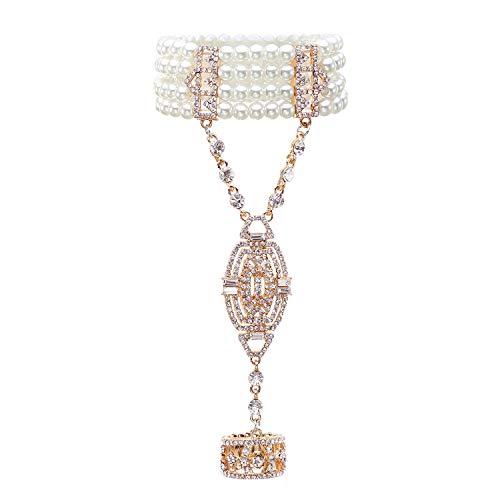 MICCF Armband Armband Perlen Damen Gatsby Kostüm Zubehör Blinkende Kristall Armreif Jahre Accessoires für