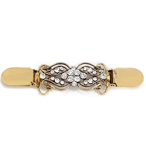Pullover Clip, Vintage Shining Cardigan Clip Blumenmuster Cardigan Pin Brosche für Frauen Pullover Bluse Schal(Antikes Gold)