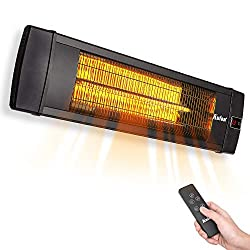 KUTON Electric Patio Heater, Outdoor Heater w/Remote, Wall Mounted Infrared Heater, IP65 Waterproof Outdoor Heater, 3 Power setting, Max. 5118BTU for Patio, Garage, Timer Setting for In/Outdoor