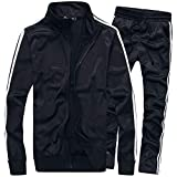 MACHLAB Men's Activewear Full Zip Warm Tracksuit Sports Set Casual Sweat Suit Black M
