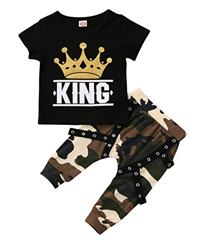 Ma&Baby Peuter Jongen Kleding Koning Korte Mouw Zwart T-Shirt +Camo Broek Outfits Tops Set