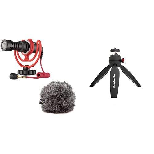Rode Microphones VideoMicro Microfono Direzionale Compatto per fotocamere, videocamere, registratori audio & Manfrotto MTPIXI-B Treppiede da Tavolo per Fotocamere CSC e DSLR ed Impugnatura per Video
