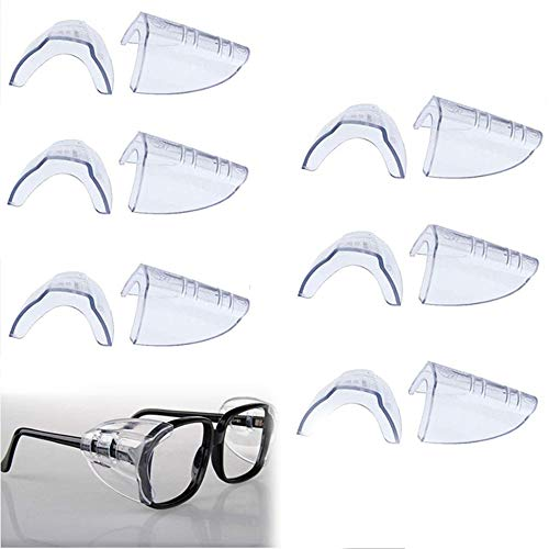 6 Pairs Eye Glasses Side Shields, Flexible Slip on Side Shields for Eyeglasses Fits Medium to Larger Safety Eyeglasses