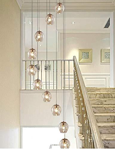 Iluminación colgante 10 de cristal pendiente de la luz de la lámpara de la escalera espiral Bolas largo Araña Dúplex Edificio de la lámpara grande de 55x200cm de la sala Villa hueco de escaler