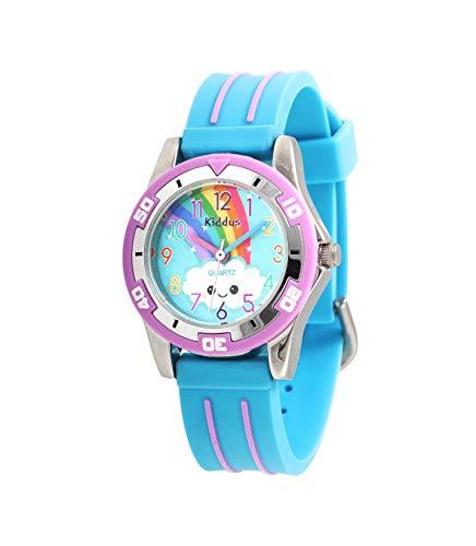 Orologio di alta qualità KIDDUS per bambini, ragazze. Da polso, analogico, con esercizi per imparare a leggere l'ora, movimento al quarzo giapponese, facilità di lettura. KI10502 Arcobaleno