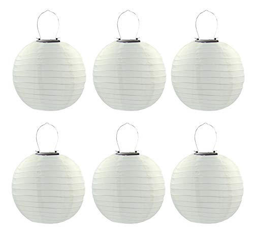 6PCS/Set 30cm Solar Powered Hanging Oriental 12' 12inch Weatherproof Rechargeable Nylon Chinese Lanterns with 1W 5050SMD LED Light Bulb (White)