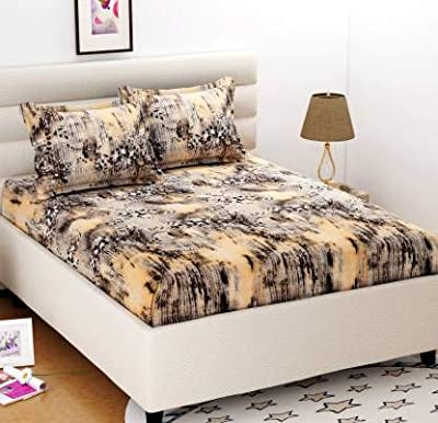 Divine Homes Premium Microfiber Double Bed Sheet with 2 Large Size Pillow Covers; 90x100 inches; Beige Abstract