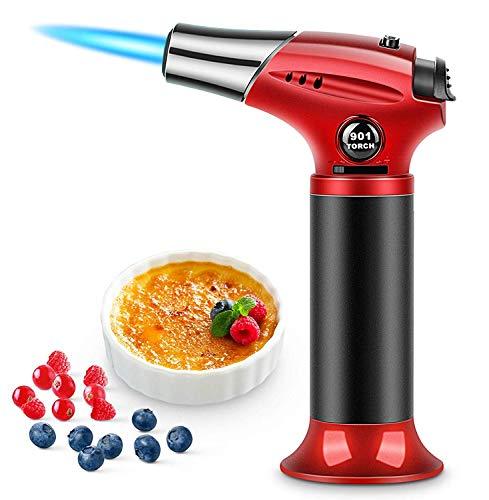 Sopletes de Cocinar Profesional antorcha de cocina con cerradura de seguridad soplete recargable de llama ajustable Encendedor para...