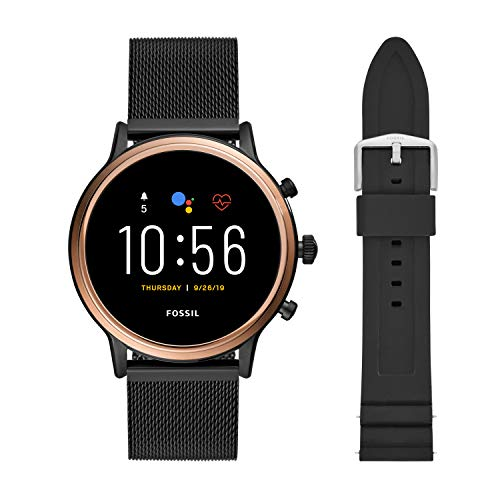 Fossil Unisex 44MM Gen 5 Julianna HR Heart Rate Stainless Steel Mesh Touchscreen Smart Watch + 22MM interchangable Black Silicone Band