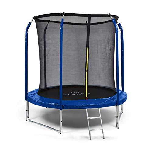 Klarfit Jumpstarter - Cama elástica, Superficie Salto 1,95 m, Certificado Intertek, Red de Seguridad Interior, Carga máx. 120 kg, 3 Patas Dobles, Escalera de Acero galvanizado, Acolchado, Azúl Marino