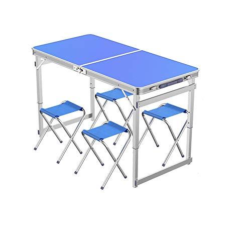 Newbeer, tavolo pieghevole e 4 sgabelli pieghevoli, tavolo da picnic con manico regolabile in altezza, per campeggio, pranzo e barbecue, per interni ed esterni, 1,2 m, blu