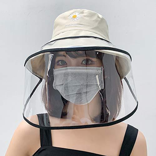 Anti-Sputo Cappello Goggle Protettivo Copertina,All'aperto Cappello da Pescatore Dimensioni Regolabili, Impermeabile E Antipolvere, con Trasparente Visiera in per Bambini, Adulti,Beige