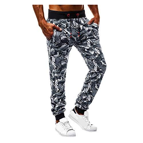 Joggingbroek, panty's, brede broek, voor heren, sport, camouflage, sjorriem, vrije tijd, joggingbroek, trekkoord Small grijs