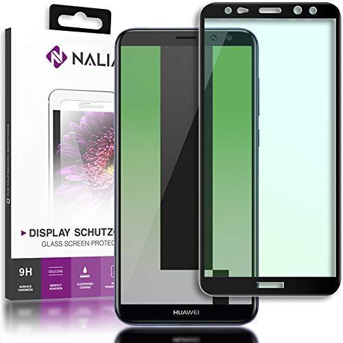 NALIA Schutzglas kompatibel mit Huawei Mate 10 Lite, 3D Full-Cover Displayschutz Handy-Folie, 9H Glas-Schutzfolie Bildschirm-Abdeckung, Schutz-Film Clear HD Screen Protector - Transparent (schwarz)