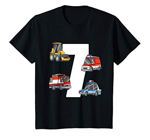 Kinder Rettungswagen und Bagger - 7 Jahre Kindergeburtstag T-Shirt