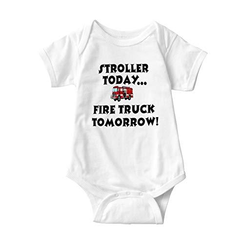 Body de bebé bebé cochecito hoy...Camioneta de fuego mañana! Body de bebé Unisex Bebé de algodón de manga corta Monos 0-3M