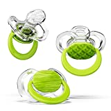 Smilo Orthodontic Pacifier, Expands to Support The Palate During Soothing, Green, Stage 1 Suitable from 0 to 3 Months (Pack of 3)