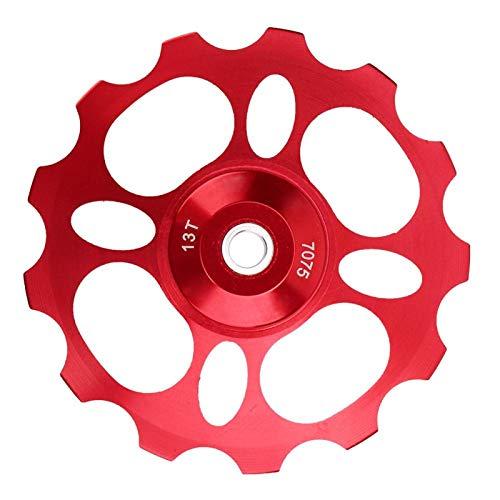 SALUTUYA Polea Ligera del desviador de la Bici del Buen Funcionamiento de la aleación de Aluminio del CNC, para la Bici(Red, 13T)