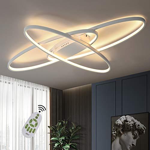 GBLY LED Dimmerabile Plafoniera Lampada da salotto bianca moderna Lampada da soffitto decorativa bianca calda/bianca neutra/bianca fredda 75W per soggiorno, camera da letto, cucina e ufficio