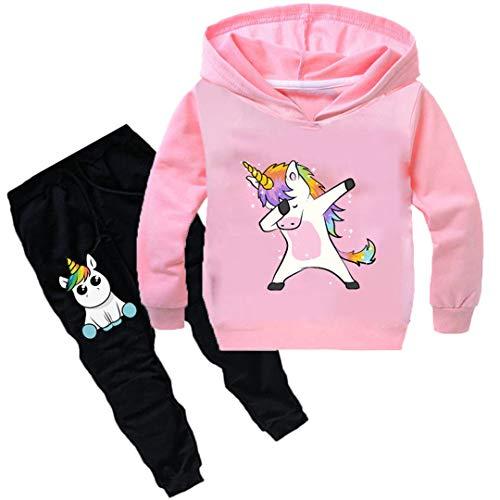 Silver Basic Unisex Einhorn Jogginganzüge Mädchen Baumwolle Fun-Bekleidung Kinder Kapuzenpullover & Hosen Sets Jungen Langarm Hoodie (140 (Höhe 115-125cm), Pink)