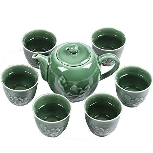 Teeservice mit Teekanne 6 Tassen und Bambus Tablett Keramik Haushalt Wohnzimmer Teeservice Büro Teeservice