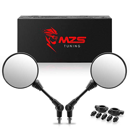 MZS ATV Mirrors - 360 Degree Adjustment Rear View Round Foldable Handlebar Mount Compatible with Motorcycle Dirt Bike Quad Street Bike Adventure Snowmobile Jet ski Scooter Coolster Moped GY6 ATV's
