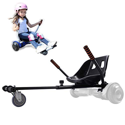 Hoverboard Go Kart Seat Attachment Accessories for Kids Adults, Hoverboard Buggy Attachment with Adjustable Frame for Girls Boys, Transform Hoverboard into a Go Cart, Gift Idea for All Ages, Black