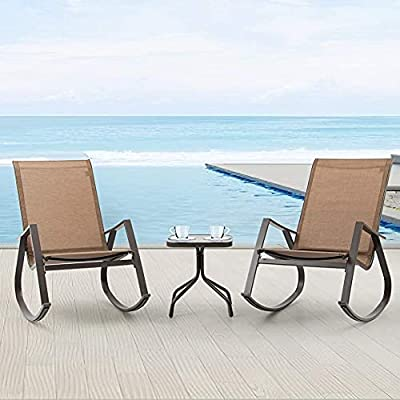 Crestlive Products 3 PCS Patio Bistro Set, Rocking Chairs & Tempered Class Coffee Table, Outdoor Recliner Chairs All-Weather Relaxation Set for Lawn Camping Beach Poolside (Brown)