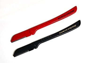 The New HOLLYWOOD BROWZER Red&Black Made of German Stainless-Steel (Includes 1 Red and 1 Black Browzer and a Protective Pouch) for Eyebrow Shaping, Removing Unwanted Hair and Dermaplaning/Exfoliation