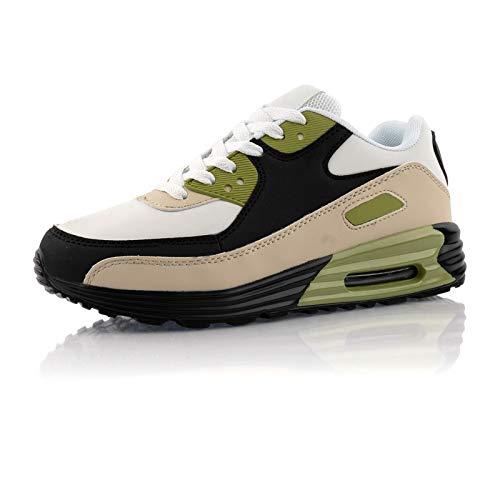 Fusskleidung® Damen Herren Sportschuhe Dämpfung Sneaker leichte Laufschuhe Schwarz Weiß Grün EU 41