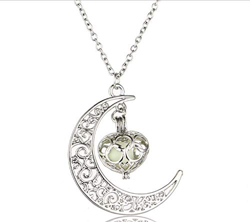 Bersha Halloween Christmas Explosion Starry Moon Time Luminous Necklace Chain Luminous Love Pendant Accessories