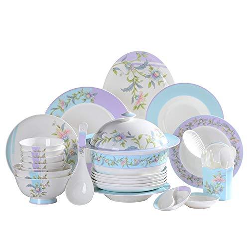 ASYCAN 60 Piezas de Porcelana Bone China Set de vajilla vajilla, cerámica/Porcelana de Hueso, Cuenco/Plata/Cuchara,...