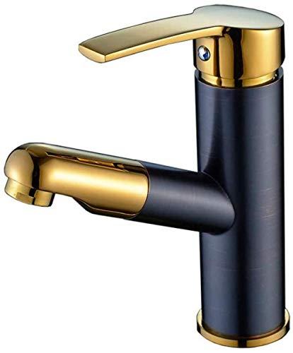 Waterkraan koperen wastafel waterkraan zwart tekening kleur warm en koud wastafel eengat gouden shampoo telescoop