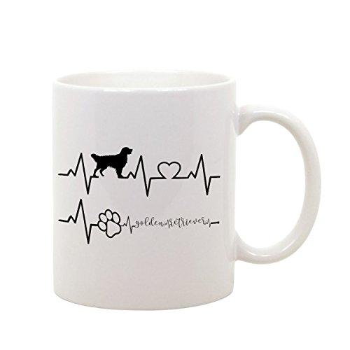 bubbleshirt Tazza Mug in Ceramica Elettrocardiogramma Golden Retriever - Love - Dog - Idea Regalo