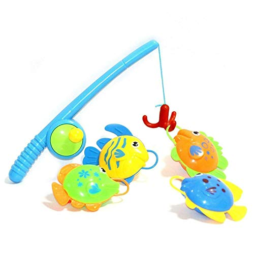 Children Toddler Fishing Game Set Bath Toy Rod Fish Catch Hook Pull Set