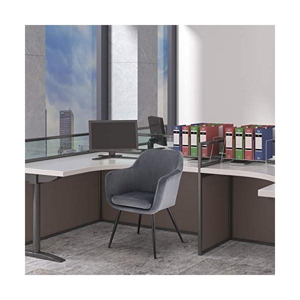 E-starain 1x Sillas de Comedor Dining Chairs Sillas Tapizadas Paquete de 1 Sillas Cocina Nórdicas Terciopelo Sillas Bar Metal Silla de Oficina Silla de Escritorio Negro