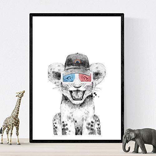 Nacnic Lámina Infantil Leon Infantil con Gorra y Gafas 3D Poster Animales Infantiles Tamaño A3 Sin Marco
