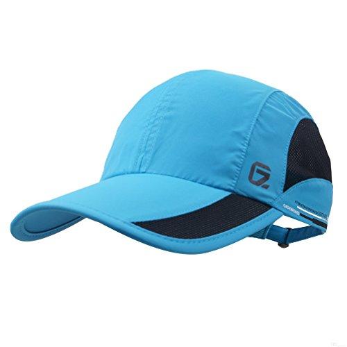 GADIEMKENSD Quick Dry Sports Hat Lightweight Breathable Soft Outdoor Run Cap (Classic up, DeepSkyBlue)