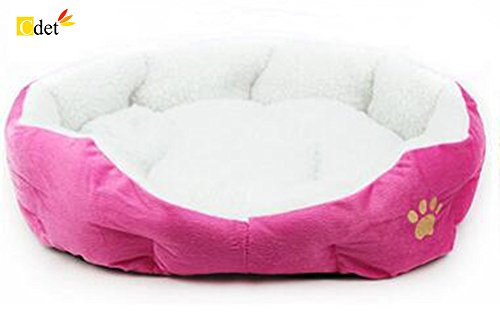 Cdet Cama para mascotas redonda o de forma oval dimple fleece nesting perro cueva para gatos y perros pequeños,46cm*42cm,Rosa roja