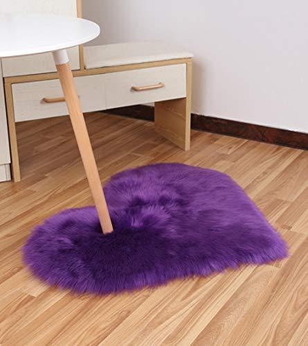 Charm4you Adecuado para salón Dormitorio baño sofá Silla cojín,Mobiliario para el hogar Alfombra de Felpa de Lana sintética en Forma de corazón-púrpura_70 * 90,Grueso Suave Shaggy Alfombra