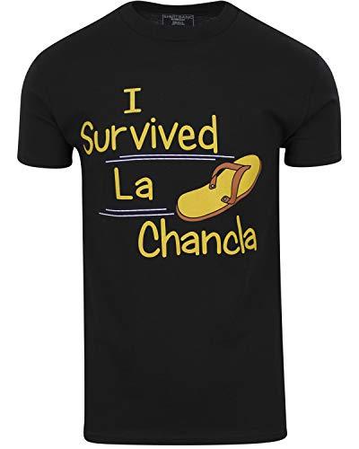 ShirtBANC Brand I Survived La Chancla Mens Shirt Funny Mexican Humor Tee (Black, M)