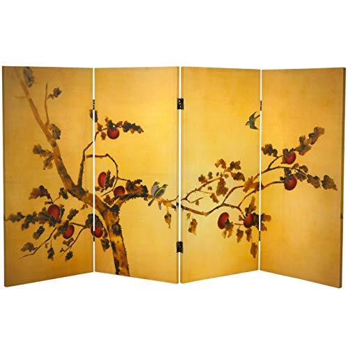 Oriental Furniture Tall Double Sided Birds on Plum Tree Canvas Room Divider, 3-Feet