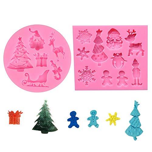 yyuezhi Chocolate Jelly Candy Molde Silicona Cavidades Molde Moldes Decorativos Navideños de Silicona Molde de Silicona de Muñeco de Nieve de Copo de Nieve de Navidad Rosado 2 Piezas