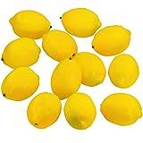 Supla 12 Pcs Artificial Lemon in Yellow 3.7' Long x 2.56' Wide Fake Lemon Foam Lemon Fruit Decor Kitchen Table Decor