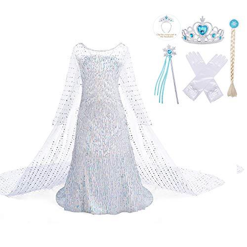Jurebecia Traje de Princesa Vestido de niñas pequeñas Disfraz De Princesa para Niñas Traje de Fiesta de cumpleaños de Halloween Trajes de Cosplay Vestidos de Lentejuelas Blanco
