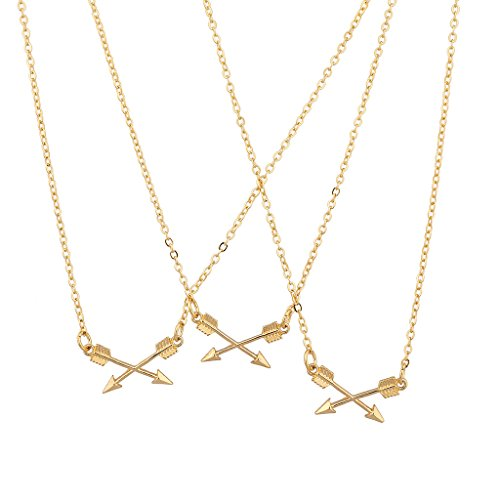 Lux Accessories BFF Best Friends Forever Triple Crossing Arrow Matching Necklace Set