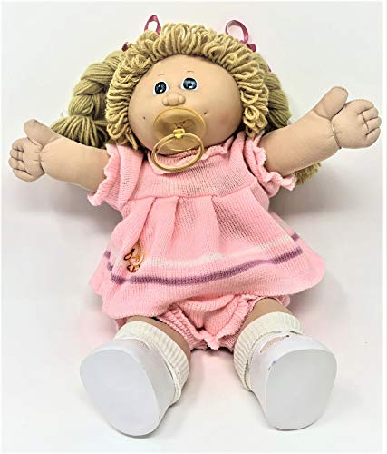 CPK Cabbage Patch Kid -1985 Girl W/Pink Sweater Dress with Pacifier - Vintage