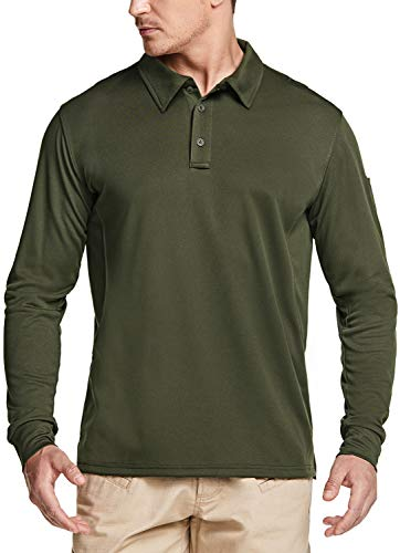 CQR Men's Long Sleeve Tactical Work Shirts, Dry Fit Lightweight Polo Shirts, Outdoor Performance UPF 50+ Collared Shirt, Tacti Dri(tok003) - Army Green, Large