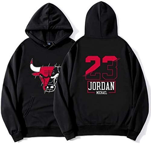 Jersey de Baloncesto de otoño e Invierno Jordania # 23 Manga Larga Fleece Delgada Sweater con Capucha Kangaroo Pocket Sports Chaqueta Hombres y Mujeres Negro (Size : Large)
